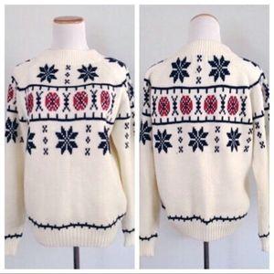 Vintage 1970s Nordic Fair Isle Cream Sweater M